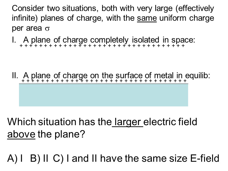 Consider two situations, both with very large (effectively infinite) planes of charge, with the same uniform charge per area  I. A plane of charge co