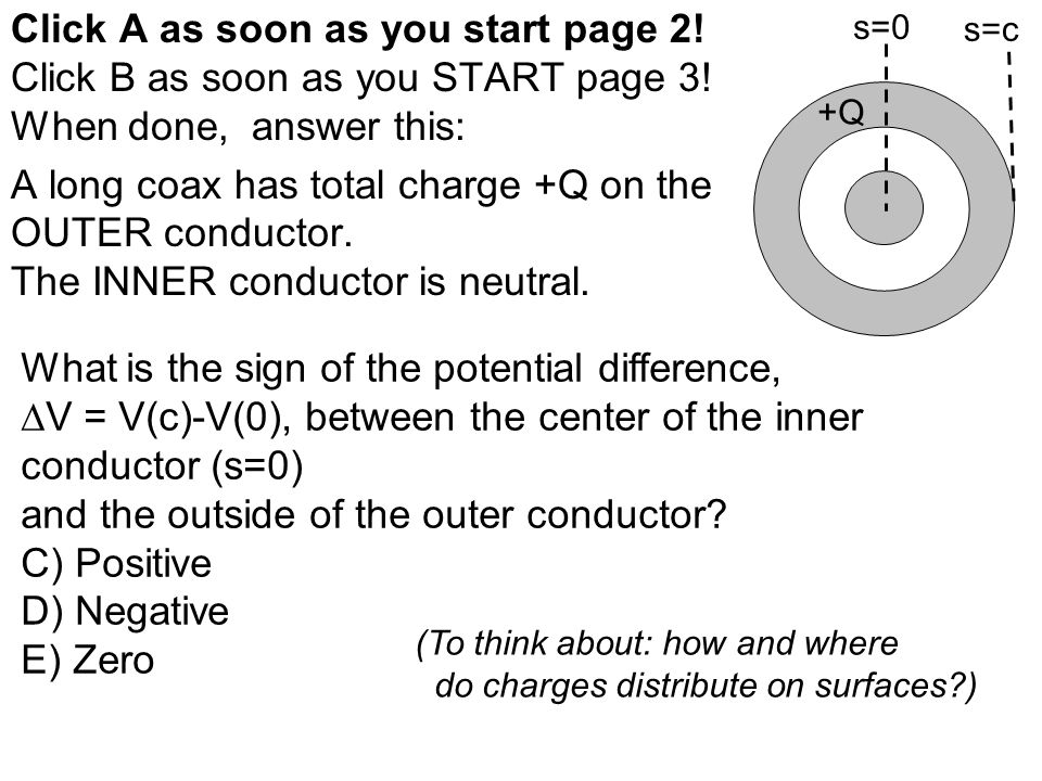 Click A as soon as you start page 2! Click B as soon as you START page 3! When done, answer this: A long coax has total charge +Q on the OUTER conduct