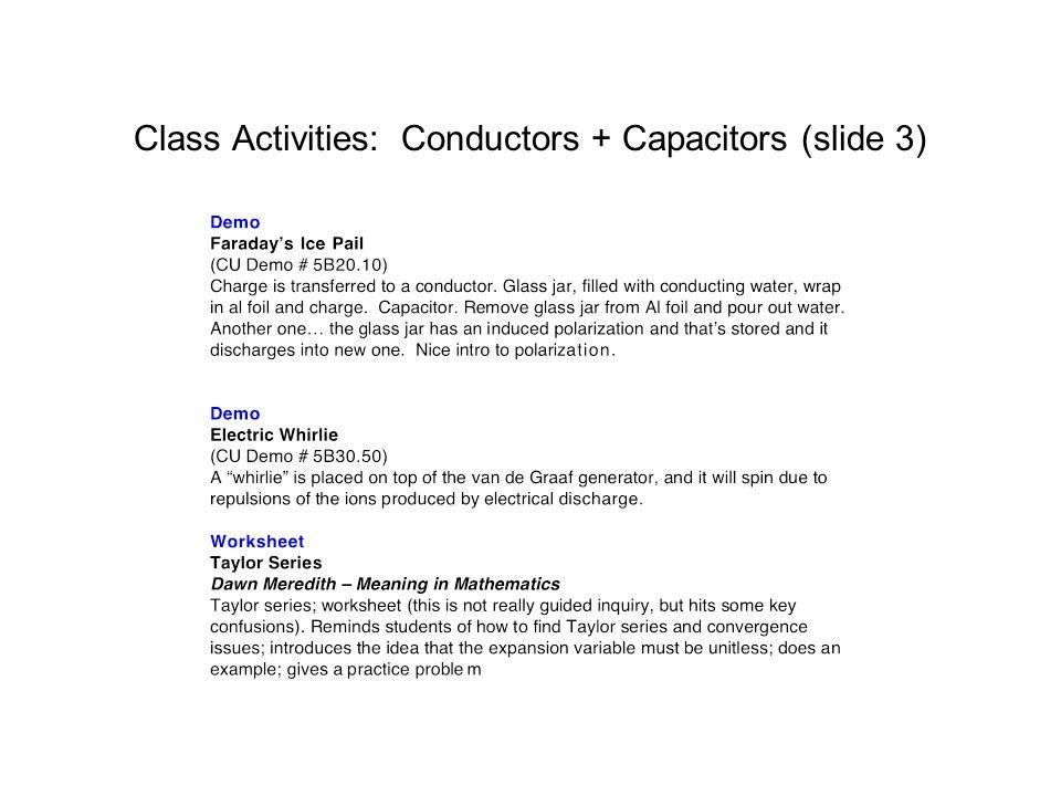 Class Activities: Conductors + Capacitors (slide 3)