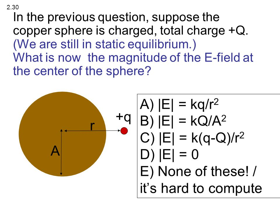 In the previous question, suppose the copper sphere is charged, total charge +Q. (We are still in static equilibrium.) What is now the magnitude of th