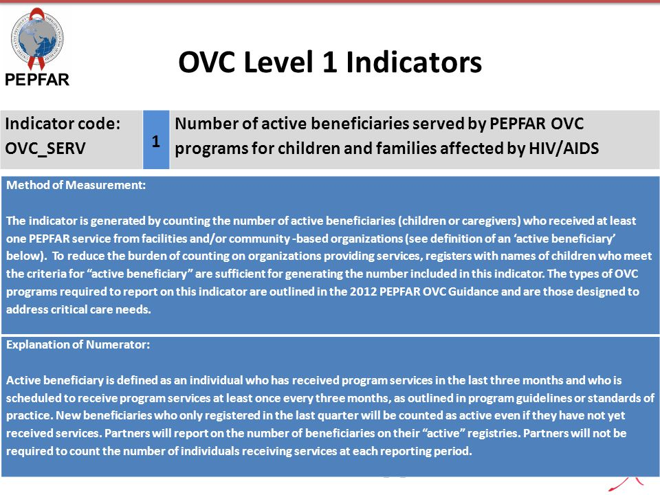 OVC Level 1 Indicators PEPFAR MER Introduction 2013_11_217 Indicator code: OVC_SERV 1 Number of active beneficiaries served by PEPFAR OVC programs for
