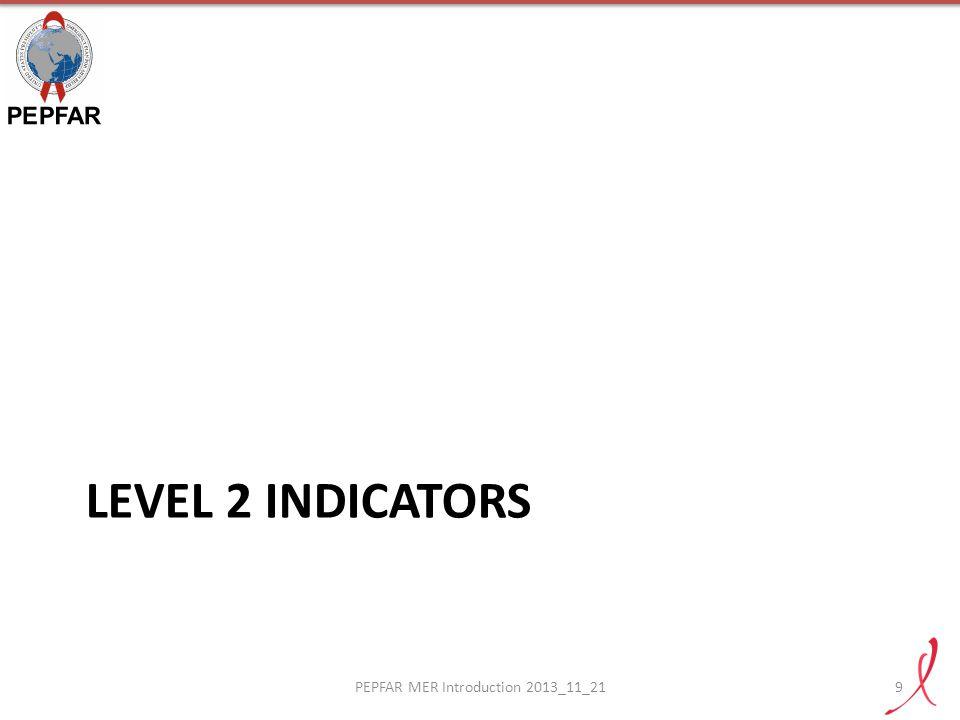 LEVEL 2 INDICATORS PEPFAR MER Introduction 2013_11_219