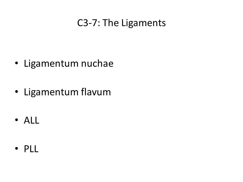 C3-7: The Ligaments Ligamentum nuchae Ligamentum flavum ALL PLL