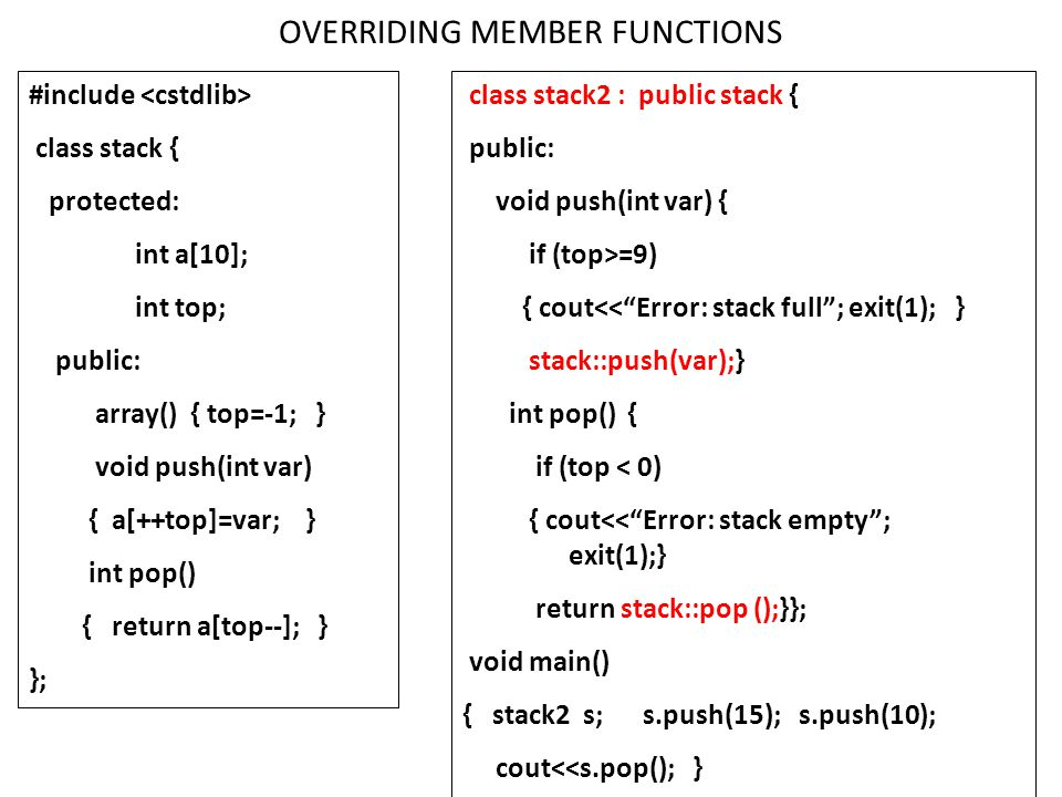 OVERRIDING MEMBER FUNCTIONS #include class stack { protected: int a[10]; int top; public: array() { top=-1; } void push(int var) { a[++top]=var; } int
