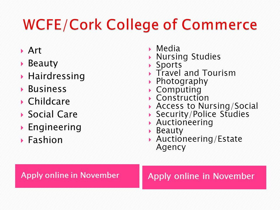 Apply online in November  Art  Beauty  Hairdressing  Business  Childcare  Social Care  Engineering  Fashion  Media  Nursing Studies  Sports  Travel and Tourism  Photography  Computing  Construction  Access to Nursing/Social  Security/Police Studies  Auctioneering  Beauty  Auctioneering/Estate Agency