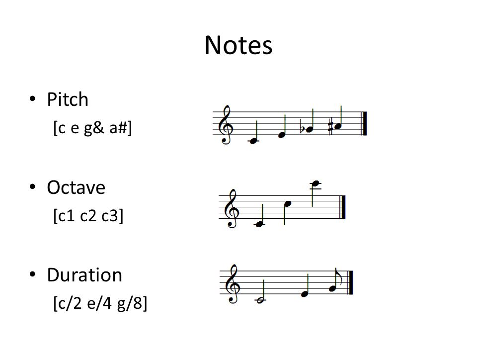 Notes Pitch [c e g& a#] Octave [c1 c2 c3] Duration [c/2 e/4 g/8]