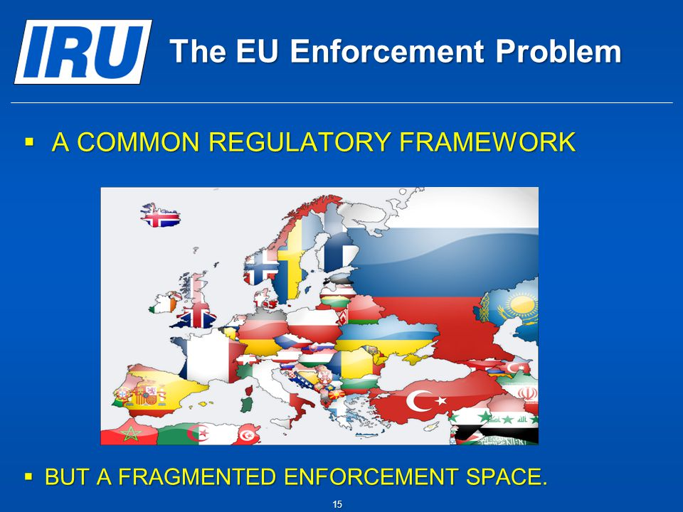 The EU Enforcement Problem  A COMMON REGULATORY FRAMEWORK  BUT A FRAGMENTED ENFORCEMENT SPACE. 15