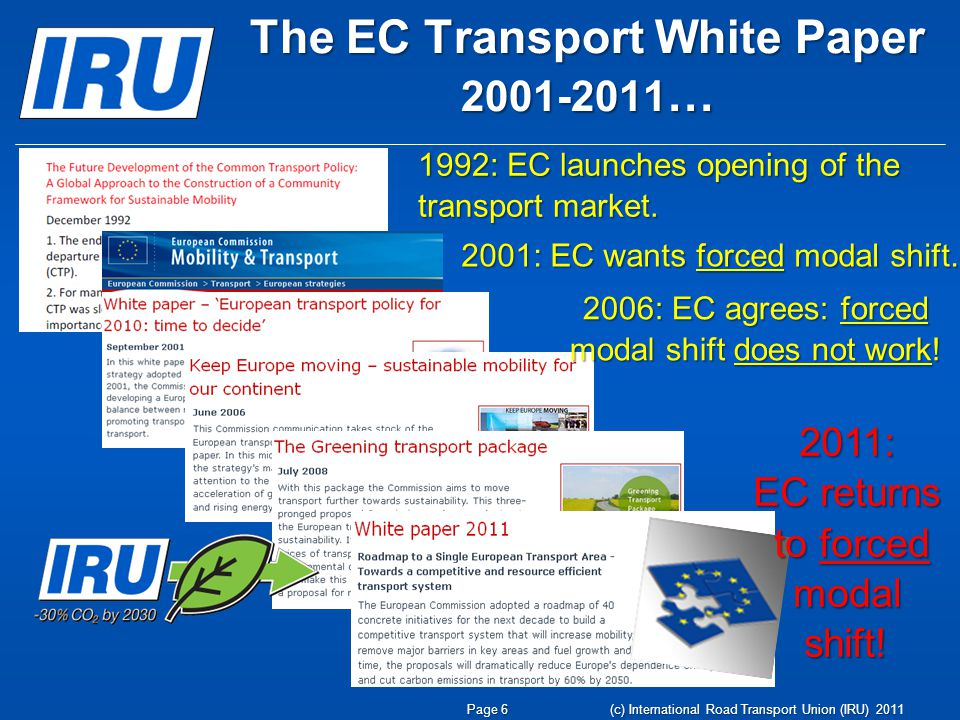 The EC Transport White Paper 2001-2011 … (c) International Road Transport Union (IRU) 2011 Page 6 2001: EC wants forced modal shift.