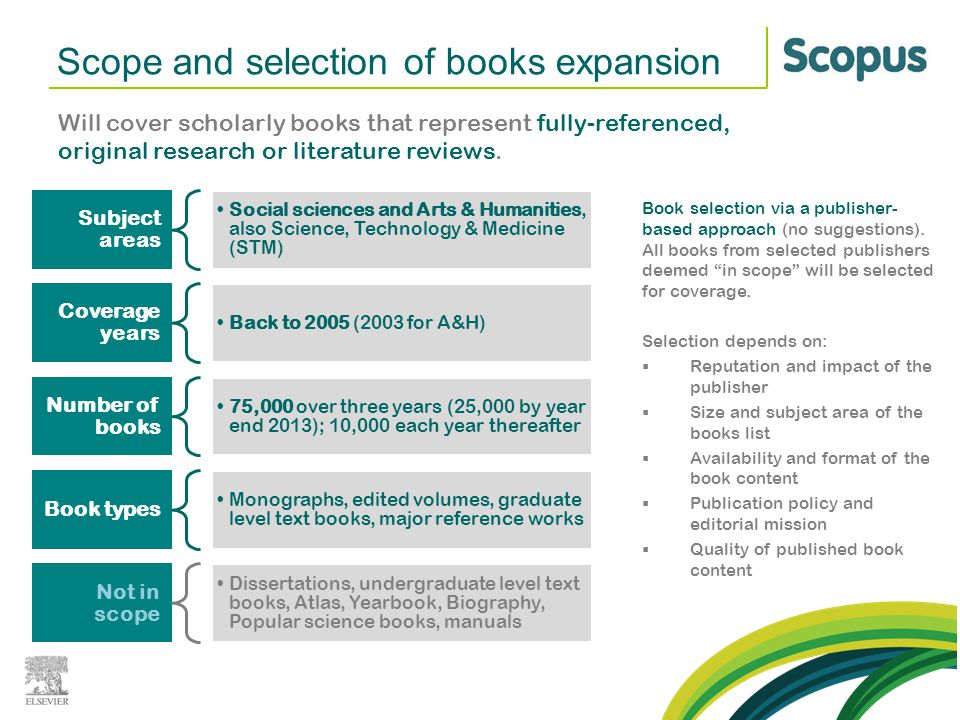Scope and selection of books expansion Will cover scholarly books that represent fully-referenced, original research or literature reviews. Subject ar