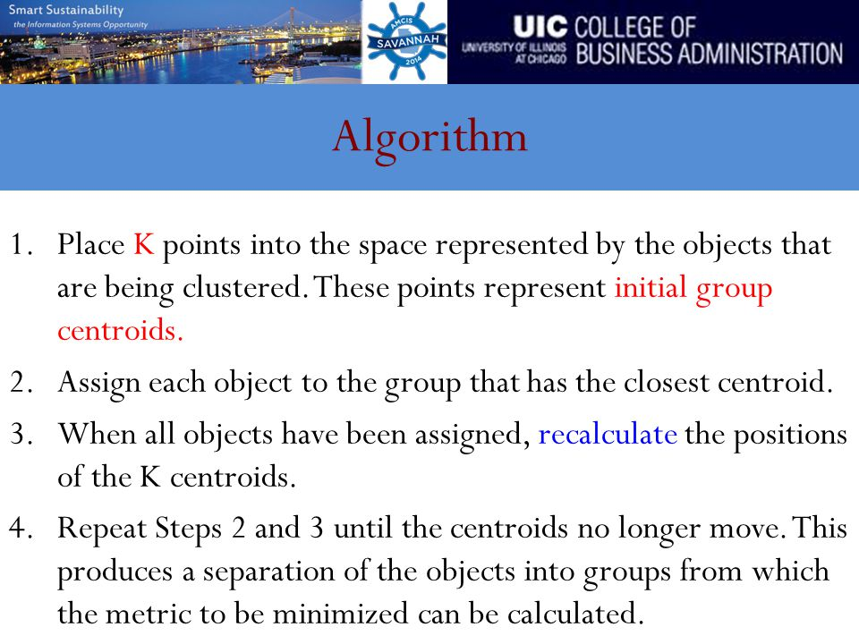 Algorithm 1.Place K points into the space represented by the objects that are being clustered.