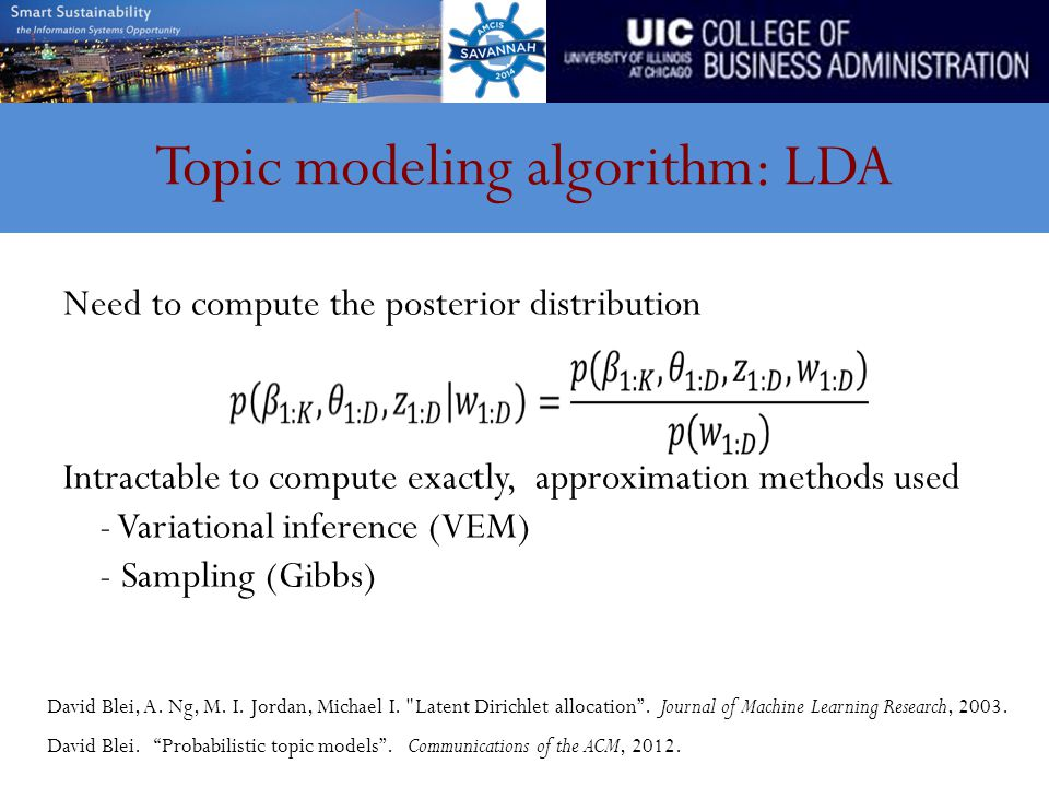 Topic modeling algorithm: LDA Need to compute the posterior distribution Intractable to compute exactly, approximation methods used - Variational inference (VEM) - Sampling (Gibbs) David Blei, A.