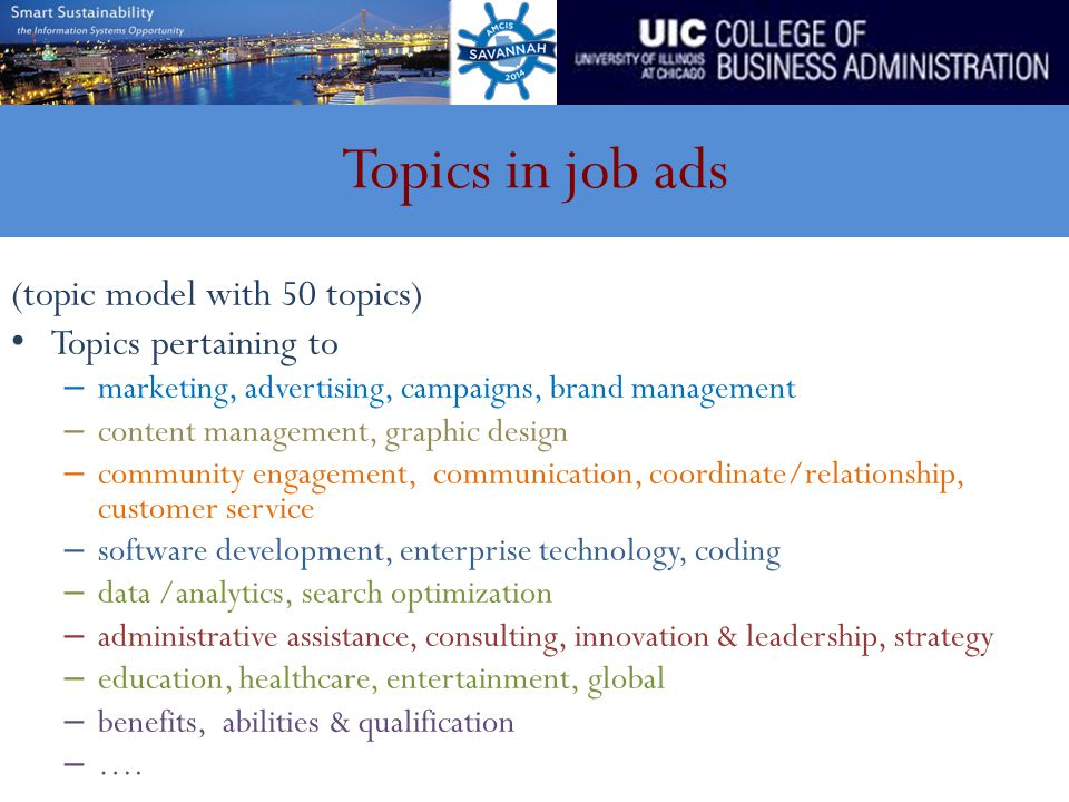 Topics in job ads (topic model with 50 topics) Topics pertaining to – marketing, advertising, campaigns, brand management – content management, graphi