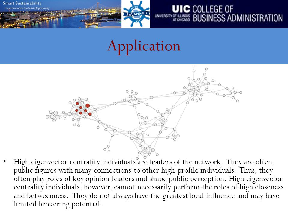 Application High eigenvector centrality individuals are leaders of the network.