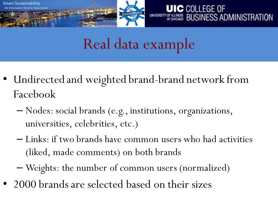 Real data example Undirected and weighted brand-brand network from Facebook – Nodes: social brands (e.g., institutions, organizations, universities, c