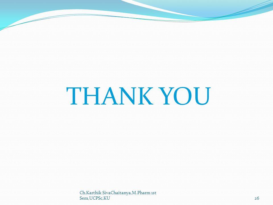 THANK YOU Ch.Karthik SivaChaitanya,M.Pharm 1st Sem,UCPSc,KU26