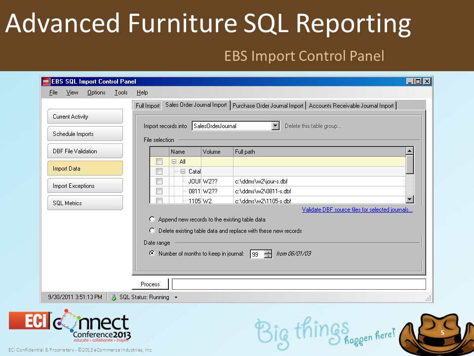 ECi Confidential & Proprietary - ©2013 eCommerce Industries, Inc. 5 Advanced Furniture SQL Reporting EBS Import Control Panel