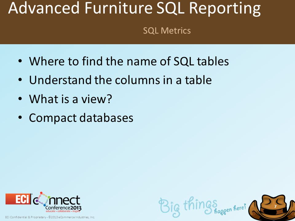 ECi Confidential & Proprietary - ©2013 eCommerce Industries, Inc. 7 Where to find the name of SQL tables Understand the columns in a table What is a v