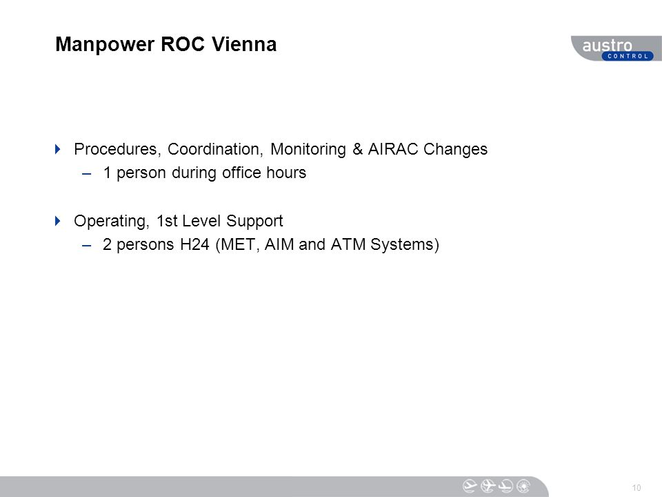 Manpower ROC Vienna  Procedures, Coordination, Monitoring & AIRAC Changes –1 person during office hours  Operating, 1st Level Support –2 persons H24 (MET, AIM and ATM Systems) 10