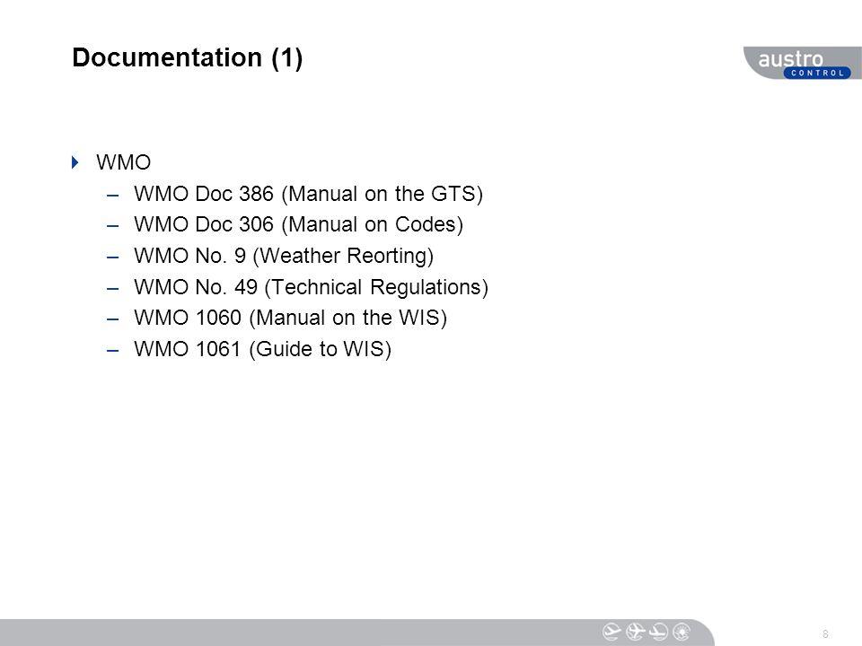 Documentation (1)  WMO –WMO Doc 386 (Manual on the GTS) –WMO Doc 306 (Manual on Codes) –WMO No.