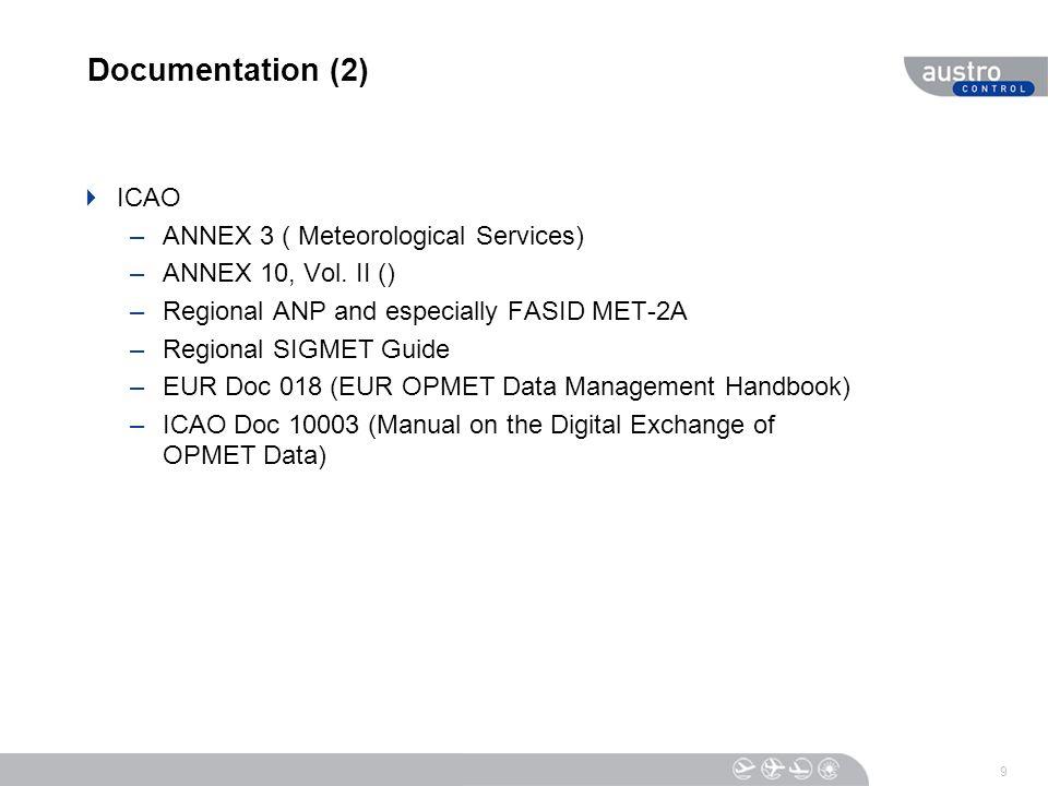 Documentation (2)  ICAO –ANNEX 3 ( Meteorological Services) –ANNEX 10, Vol.