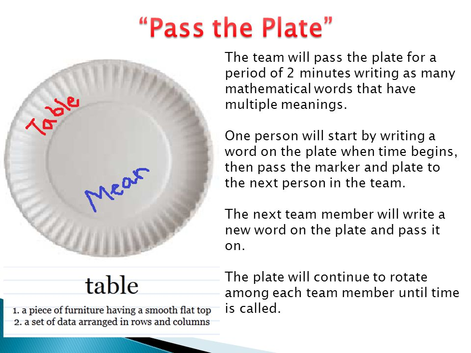 The team will pass the plate for a period of 2 minutes writing as many mathematical words that have multiple meanings. One person will start by writin