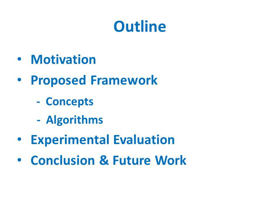 Outline Motivation Proposed Framework - Concepts - Algorithms Experimental Evaluation Conclusion & Future Work