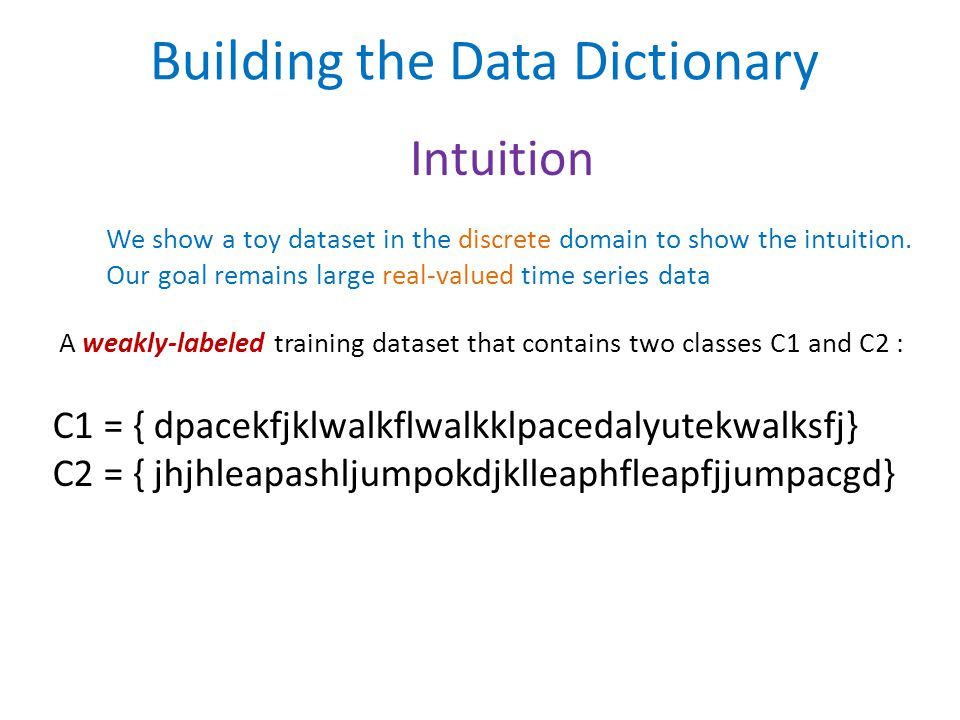 Building the Data Dictionary Intuition A weakly-labeled training dataset that contains two classes C1 and C2 : C1 = { dpacekfjklwalkflwalkklpacedalyutekwalksfj} C2 = { jhjhleapashljumpokdjklleaphfleapfjjumpacgd} We show a toy dataset in the discrete domain to show the intuition.