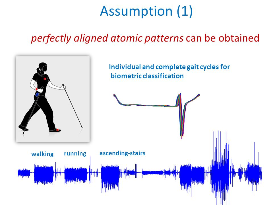Individual and complete gait cycles for biometric classification walking running ascending-stairs Assumption (1) perfectly aligned atomic patterns can be obtained