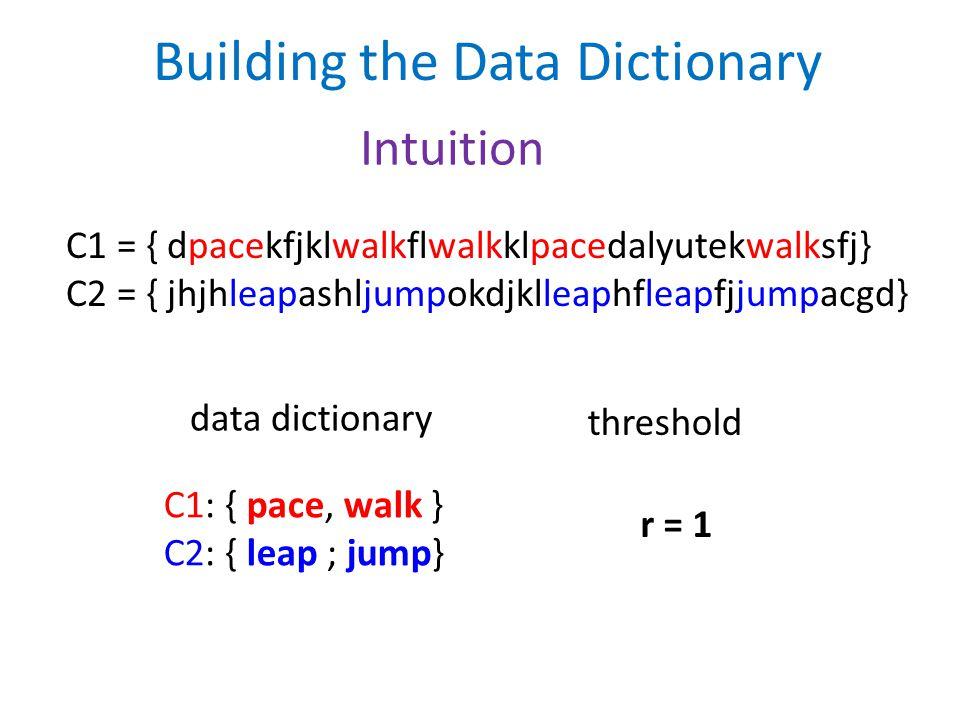 Building the Data Dictionary C1 = { dpacekfjklwalkflwalkklpacedalyutekwalksfj} C2 = { jhjhleapashljumpokdjklleaphfleapfjjumpacgd} data dictionary C1: { pace, walk } C2: { leap ; jump} r = 1 threshold Intuition