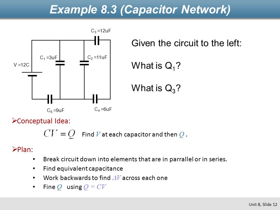 Example 8.3 (Capacitor Network) Unit 8, Slide 12 C 3 =12uF C 4 =6uF C 2 =11uF C 1 =3uF C 5 =9uF V =12C Given the circuit to the left: What is Q 1 .