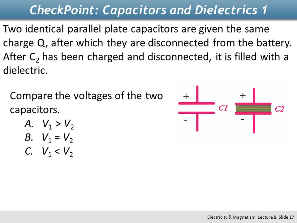 CheckPoint: Capacitors and Dielectrics 1 Electricity & Magnetism Lecture 8, Slide 17 Two identical parallel plate capacitors are given the same charge Q, after which they are disconnected from the battery.