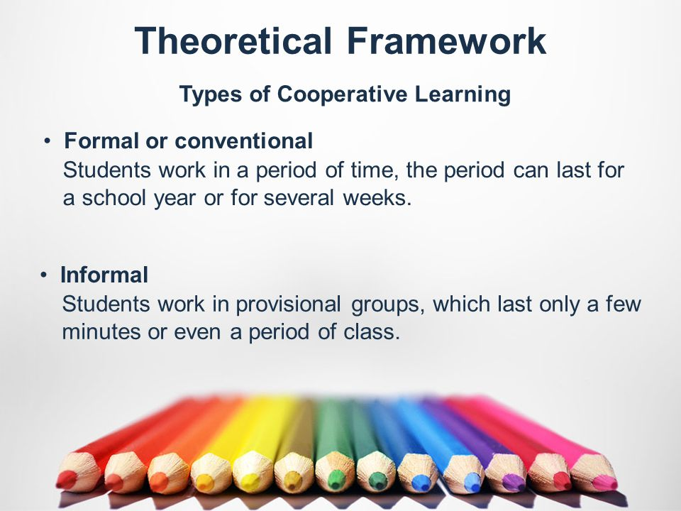 Theoretical Framework Students work in a period of time, the period can last for a school year or for several weeks.