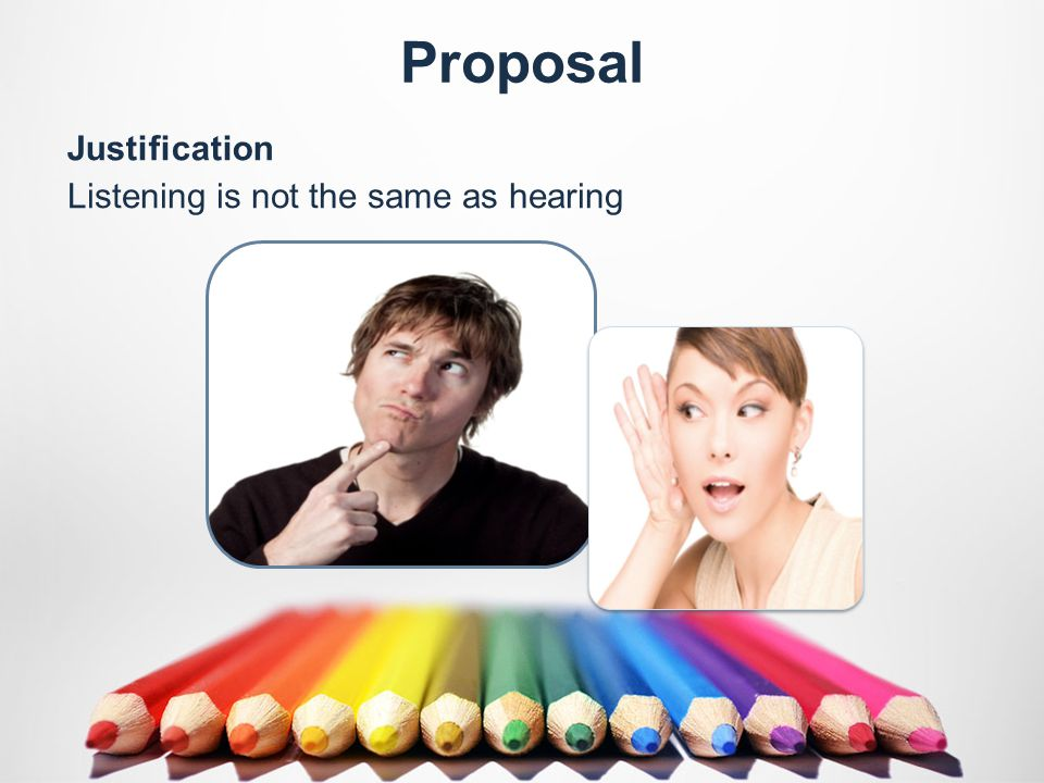 Proposal Listening is not the same as hearing Justification
