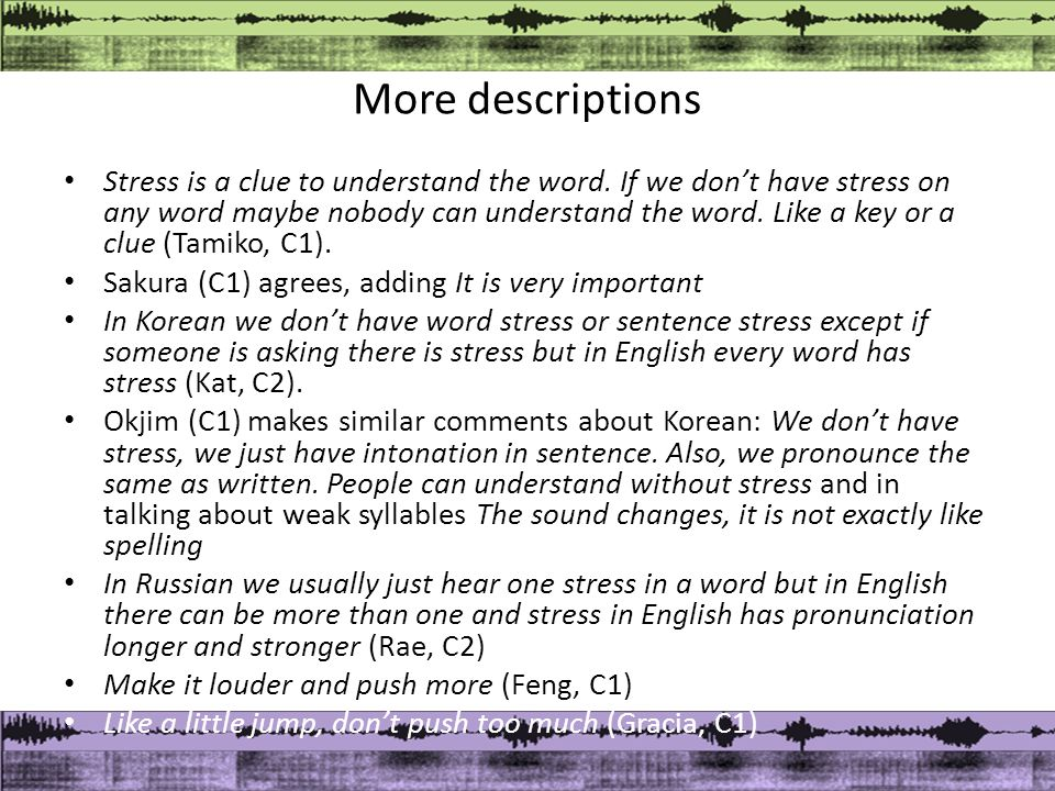 More descriptions Stress is a clue to understand the word.