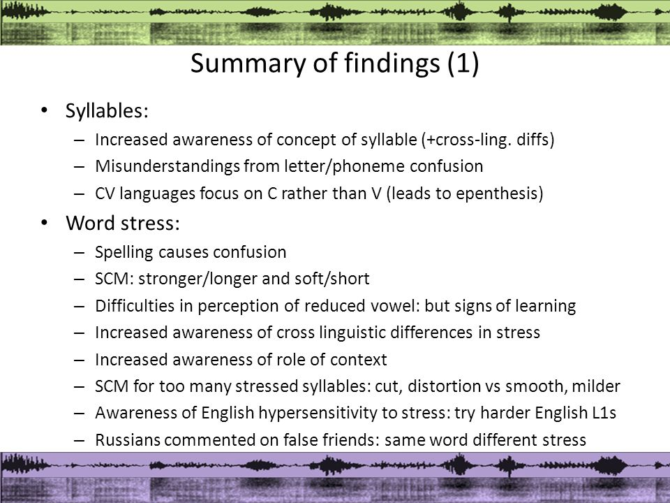 Summary of findings (1) Syllables: – Increased awareness of concept of syllable (+cross-ling.