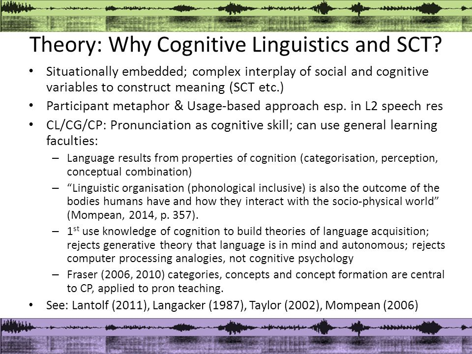 Theory: Why Cognitive Linguistics and SCT.