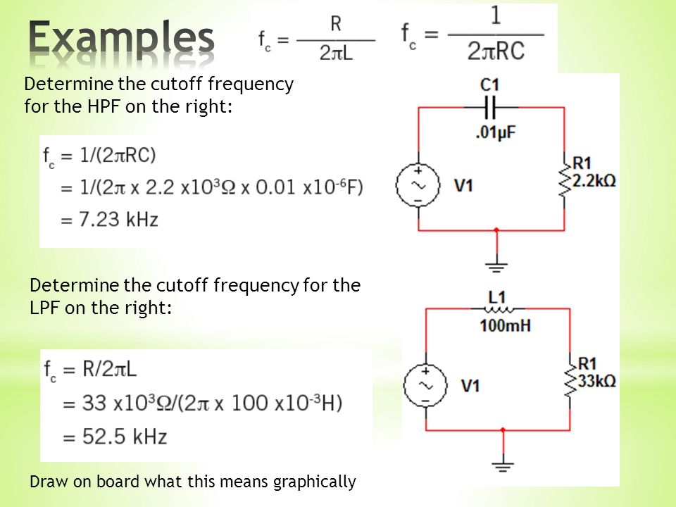 Determine the cutoff frequency for the HPF on the right: Determine the cutoff frequency for the LPF on the right: Draw on board what this means graphically