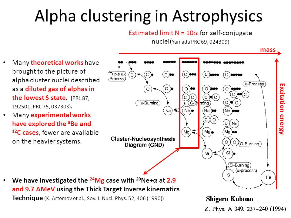 Alpha clustering in Astrophysics Estimated limit N = 10  for self-conjugate nuclei( Yamada PRC 69, 024309) Many theoretical works have brought to the