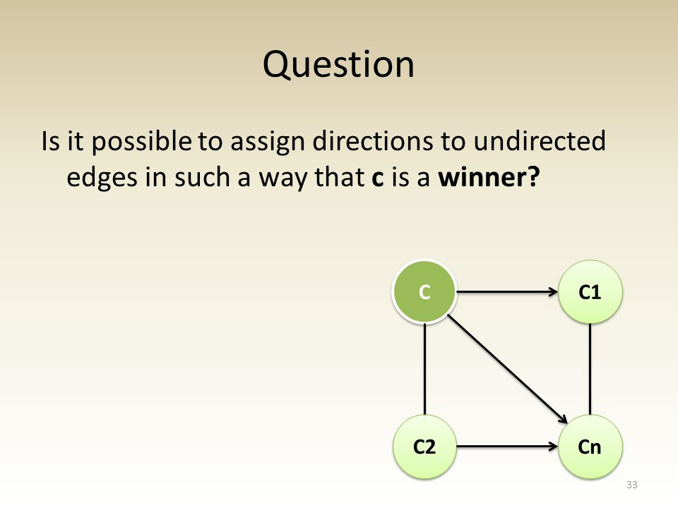 Question Is it possible to assign directions to undirected edges in such a way that c is a winner.