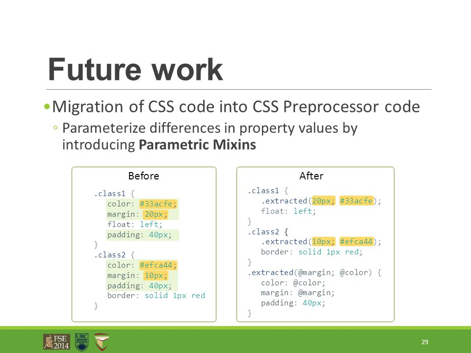 Future work Migration of CSS code into CSS Preprocessor code ◦Parameterize differences in property values by introducing Parametric Mixins 29.class1 {