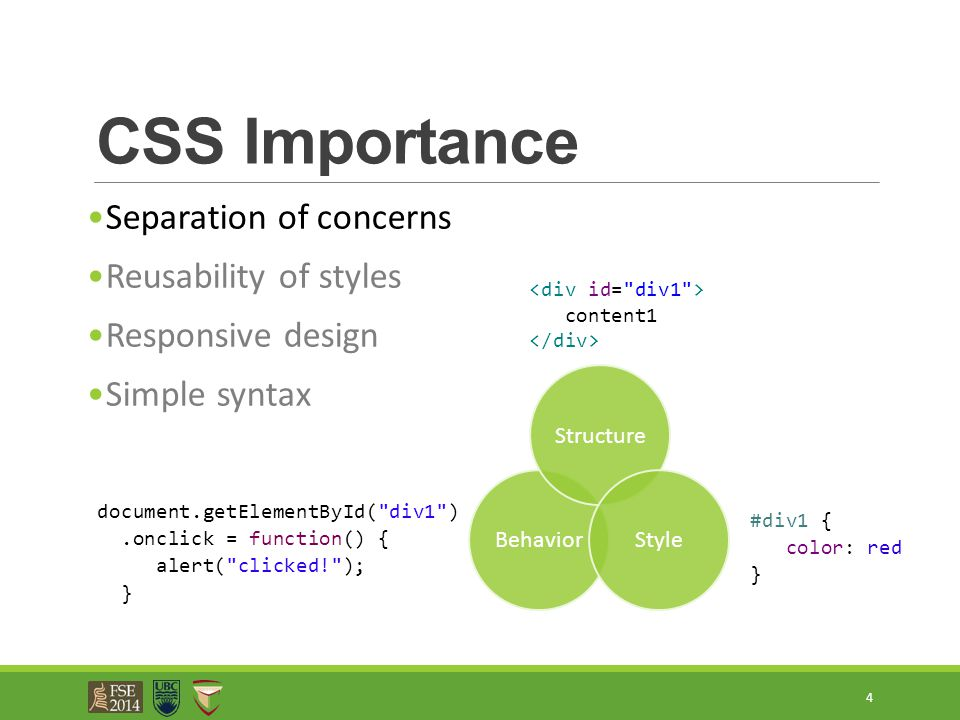 CSS Importance Separation of concerns Reusability of styles Responsive design Simple syntax 4 content1 document.getElementById(
