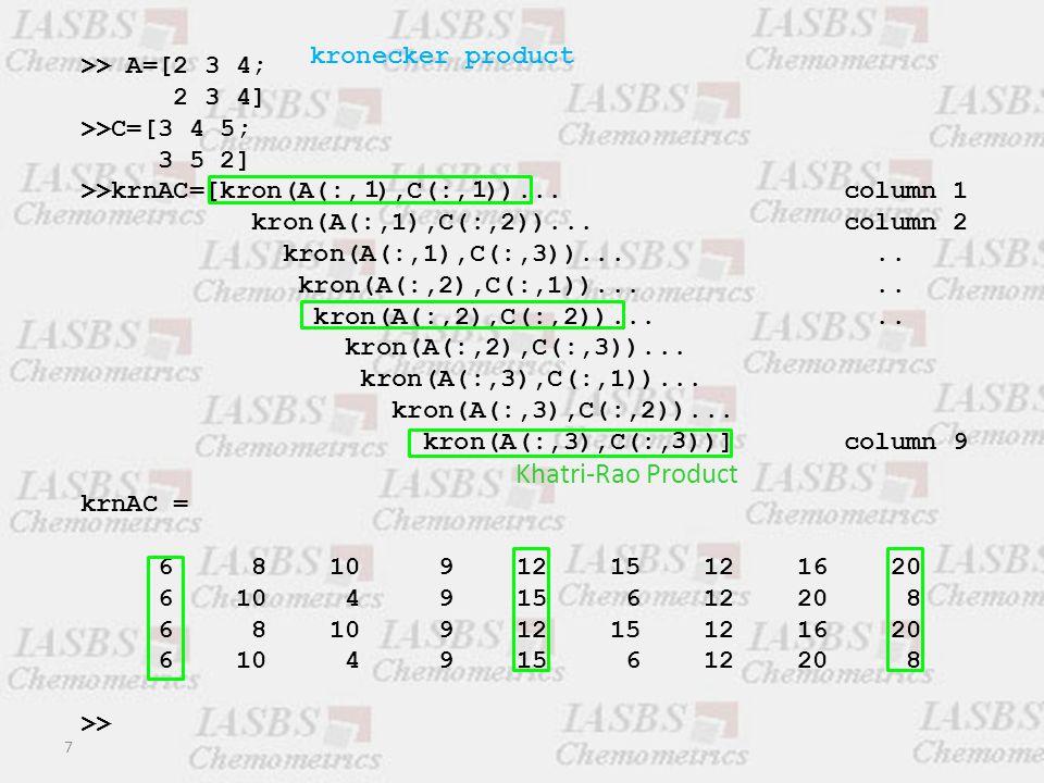 >> A=[2 3 4; 2 3 4] >>C=[3 4 5; 3 5 2] krnAC = 6 8 10 9 12 15 12 16 20 6 10 4 9 15 6 12 20 8 6 8 10 9 12 15 12 16 20 6 10 4 9 15 6 12 20 8 kronecker product 8 vec(a1  b1) vec(a2  b2)vec(a3  b3) vec(a1  b2) vec(a1  b3) vec(a2  b3) vec(a2  b1) vec(a3  b1) vec(a3  b2) Interaction terms