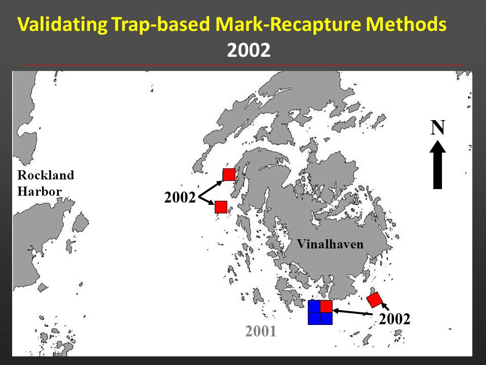 Validating Trap-based Mark-Recapture Methods 2002 2001 Rockland Harbor Vinalhaven N Rockland Harbor Vinalhaven N 2002 2001