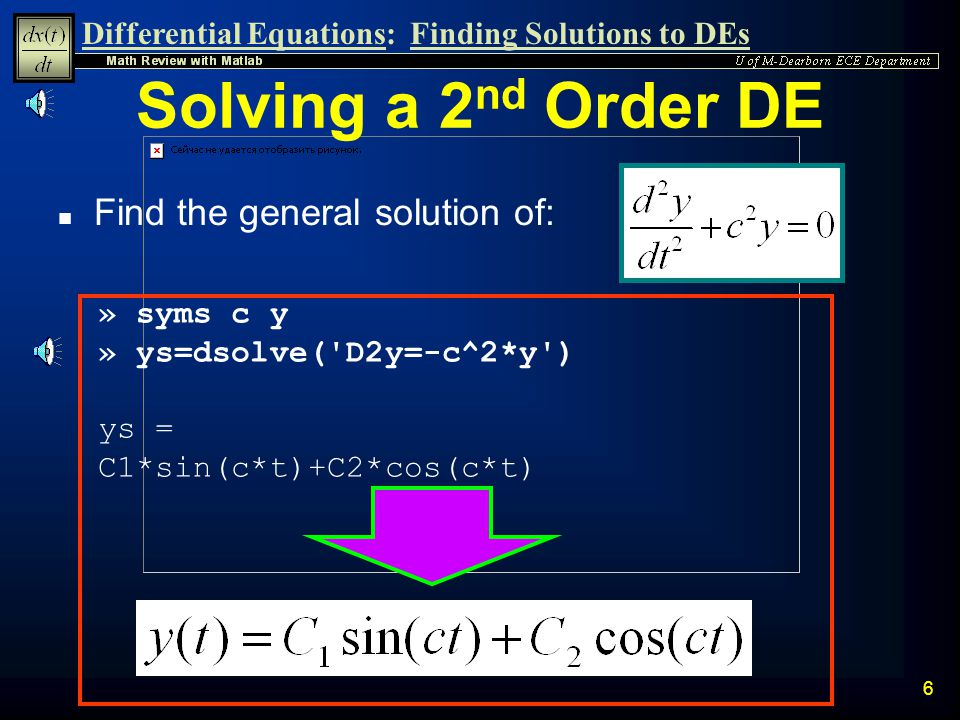 Differential Equations:Finding Solutions to DEs 5 n Verify results given y(0) = 9 Verify Results » ys=dsolve( Dy+2*y=12 , y(0)=9 ) ys = 6+3*exp(-2*t)