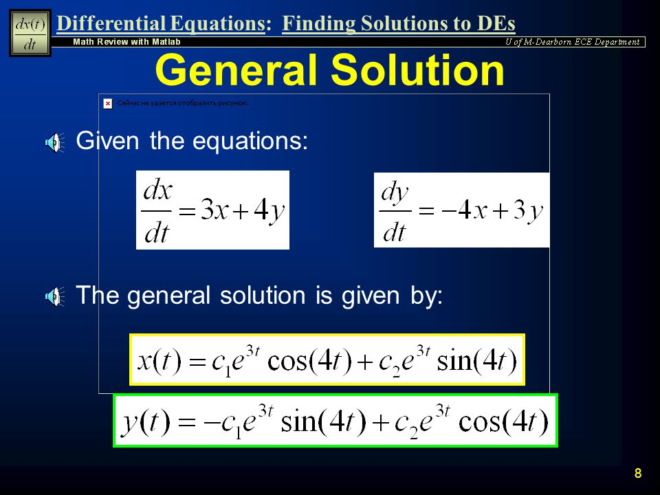 Differential Equations:Finding Solutions to DEs 18 Plot of Solution