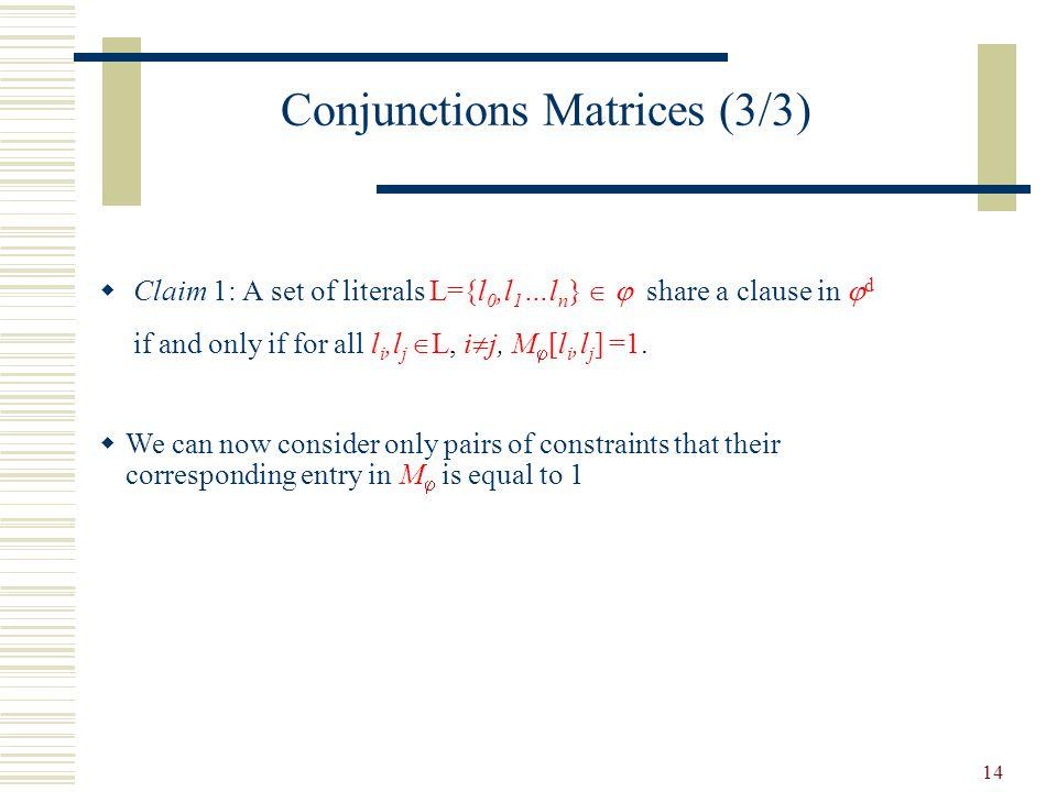 14  Claim 1: A set of literals L={l 0,l 1 …l n }   share a clause in  d if and only if for all l i,l j  L, i  j, M  [l i,l j ] =1. Conjunctions