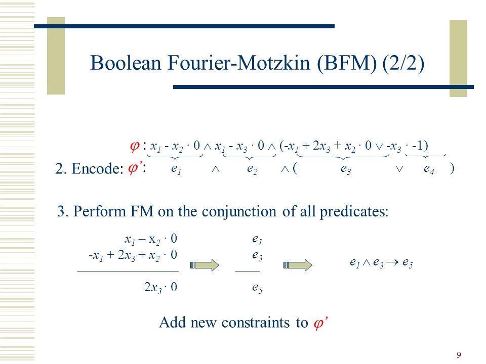 9  : x 1 - x 2 · 0  x 1 - x 3 · 0  (-x 1 + 2x 3 + x 2 · 0  -x 3 · -1) 2. Encode: Boolean Fourier-Motzkin (BFM) (2/2) 3. Perform FM on the conjunct