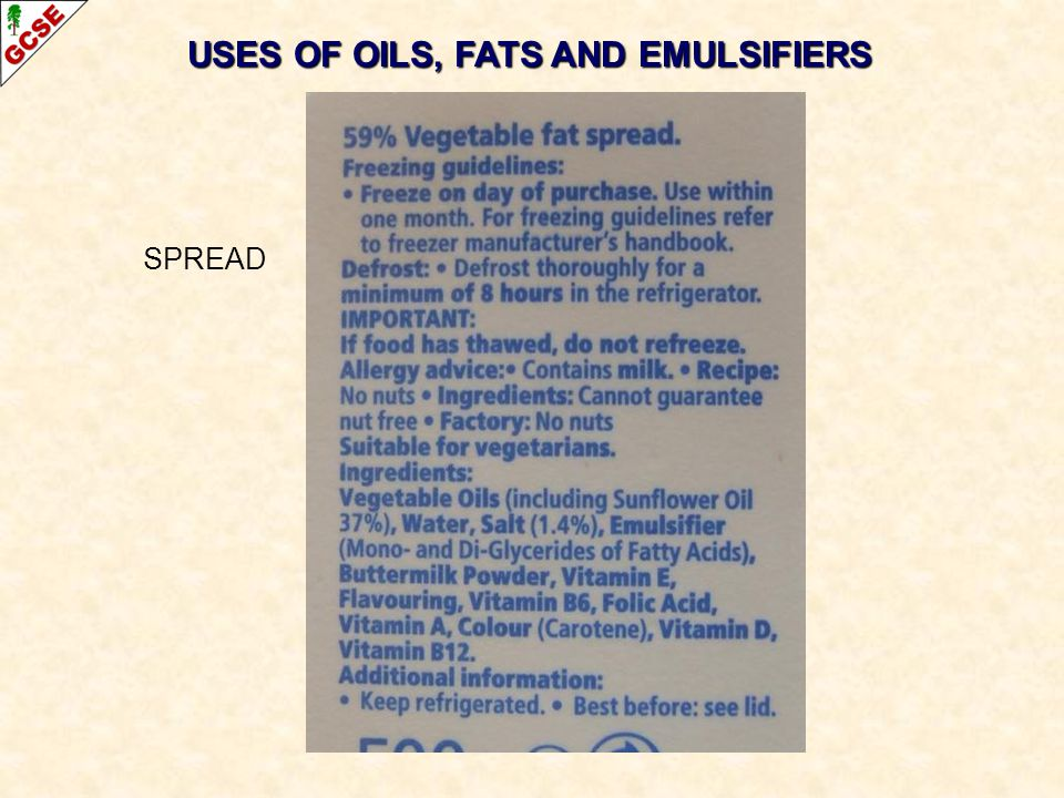 USES OF OILS, FATS AND EMULSIFIERS SPREAD
