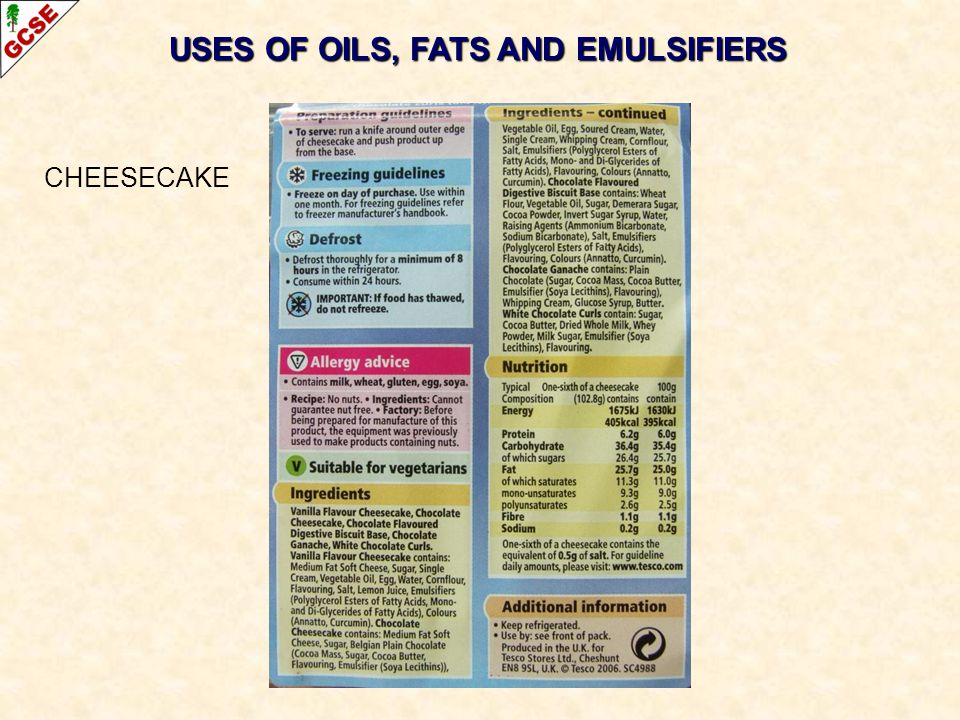 USES OF OILS, FATS AND EMULSIFIERS CHEESECAKE