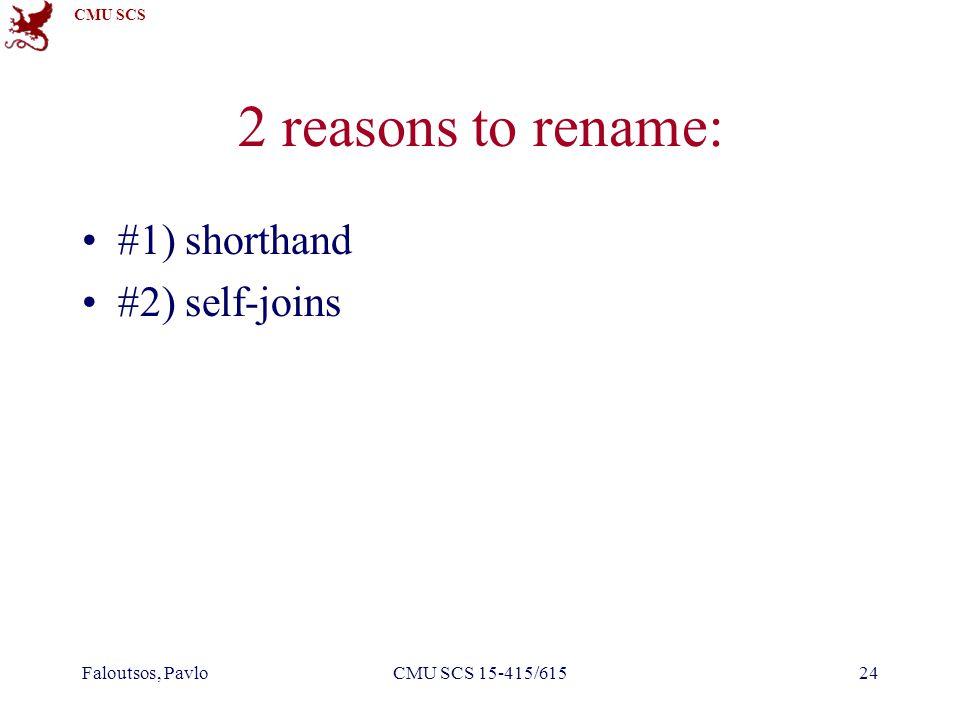 CMU SCS 2 reasons to rename: #1) shorthand #2) self-joins Faloutsos, PavloCMU SCS 15-415/61524